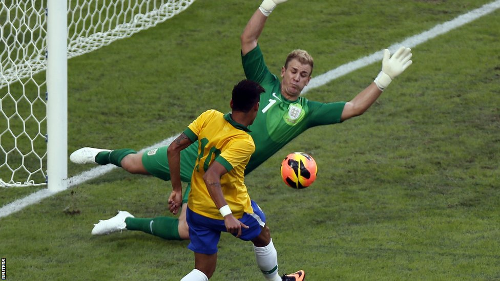 Neymar denied by Joe Hart in Brazil's 2-2 draw with England on Sunday