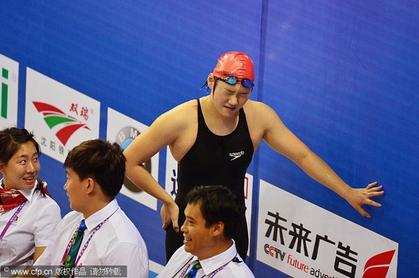 A tired Ye Shiwen after victory in the 400 IM
