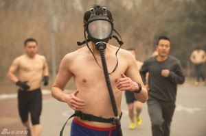 Naked joggers wearing masks in Beijing