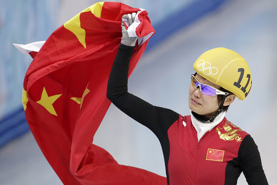Li Jianrou celebrates after winning gold