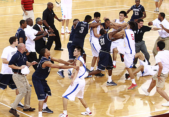 Georgetown Hoyas and Bayi Rockets brawl