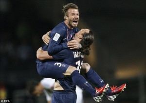Becks and Zlatan in a loving embrace