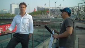Outside the Bird's Nest stadium in Beijing