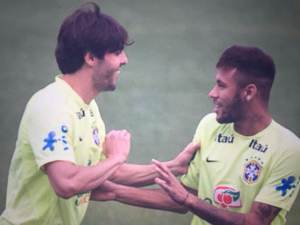 Kaka (left) has been surprisingly recalled into the Brazil squad, alongside star player Neymar (right)