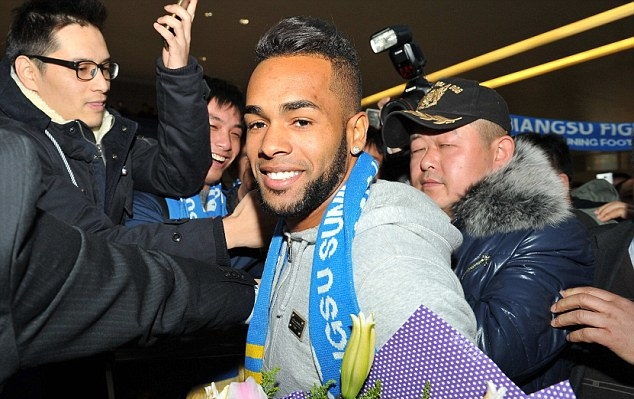 Brazilian Alex Teixeira arrives in Nanjing after signing for Jiangsu Suning
