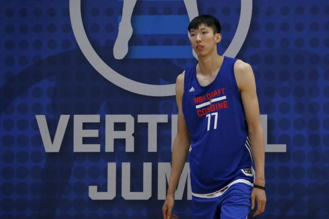 Zhou Qi at the NBA draft combine