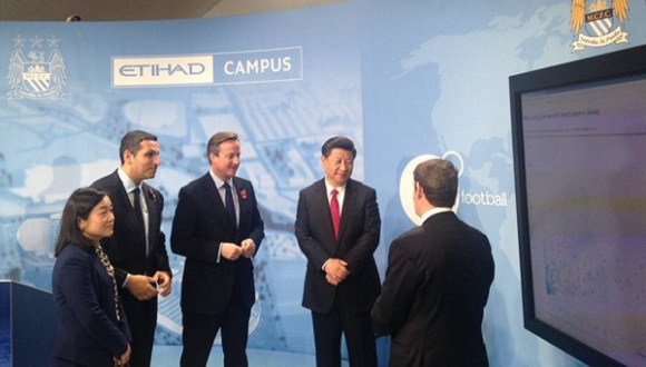 Chinese President Xi Jinping visits the Etihad campus in Manchester