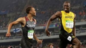 The original Rio bromance: Bolt (R) and de Grasse